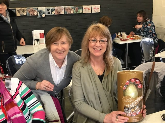 Barking Mad owner Kerry Wells with winner of an Easter egg, Nita East.