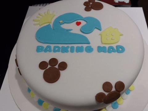 Beautifully crafted Barking Mad dog sitting Christmas cake