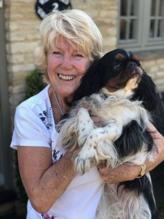 Judy And Bertie host dog sitter cuddle outside dog home boarding