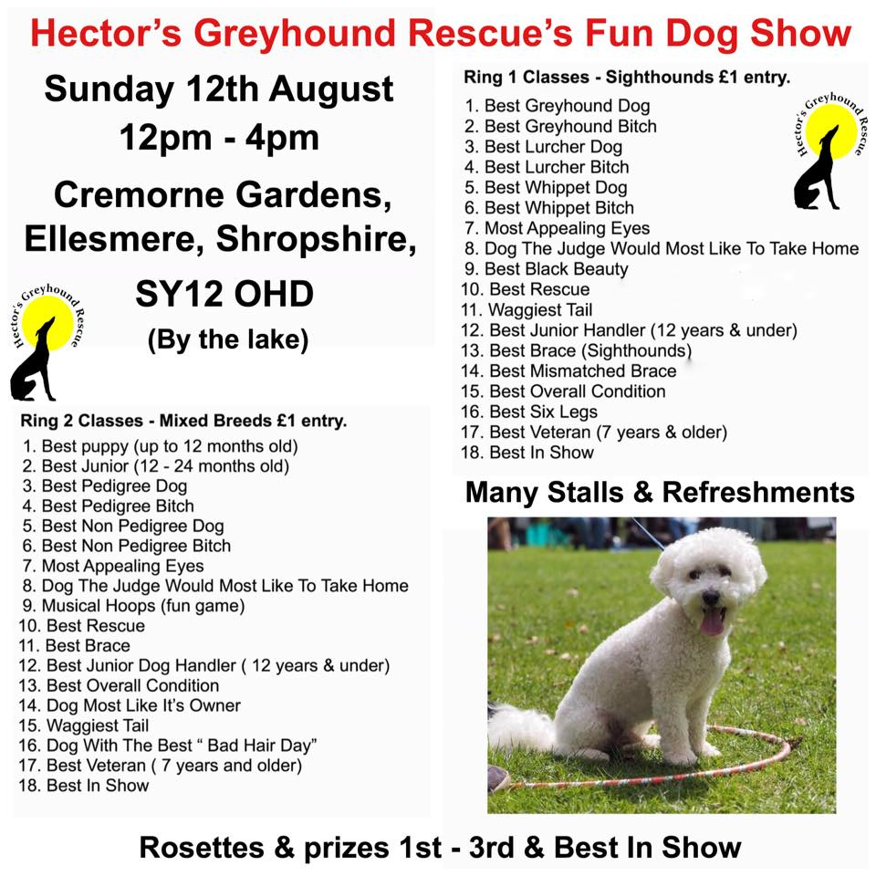 Hector's Greyhound Rescue Fun Dog Show Sunday 12th August 12 – 4pm
