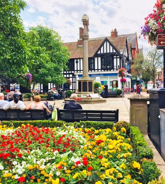 Nantwich Town Square in bloom