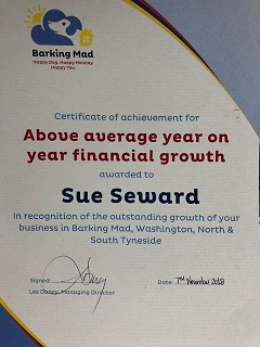 My Certificate for Above average year on year growth from Barking Mad