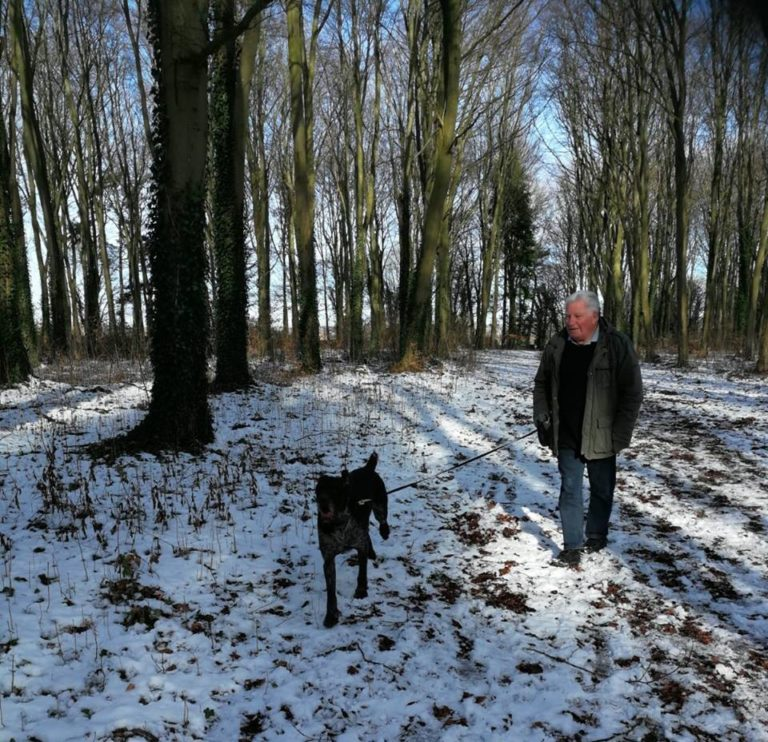 Host Adrian And Oscar The Pointer Taking A Snowy Walk In Oxfordshire Woodland. Barking Mad Oxfordshire dog sitting home boarding holiday