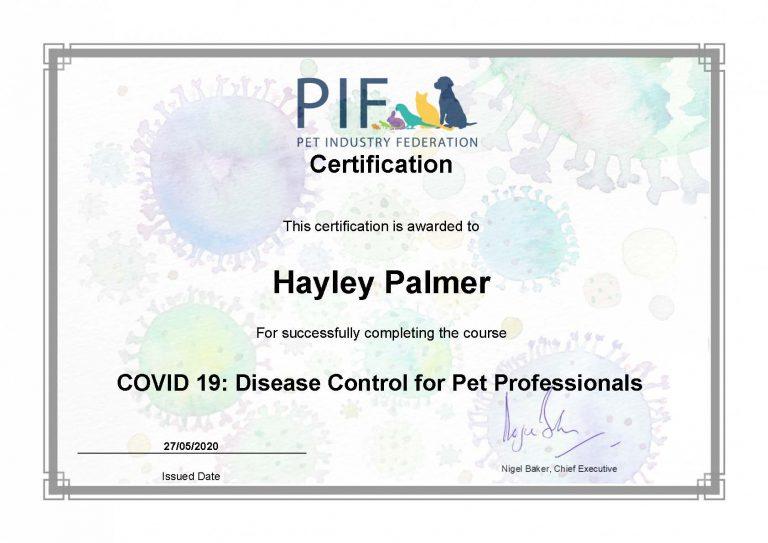 Certification Covid 19 Disease Control For Pet Professionals Northampton@barkingmad.uk.com (1)
