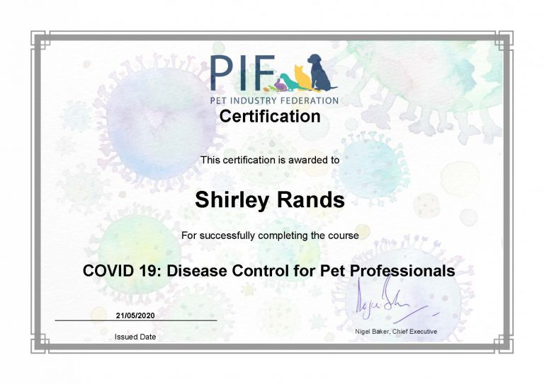 Certification Covid 19 Disease Control For Pet Professionals Smrands