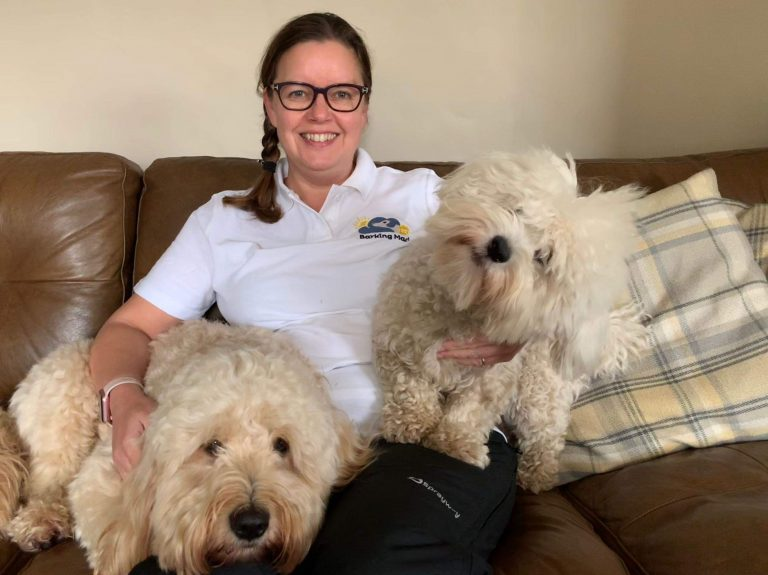 Amanda Prentice On Sofa dog sitter knutsford With Dogs
