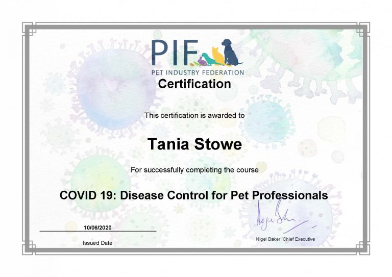 Certification Covid 19 Disease Control For Pet Professionals Tstowe