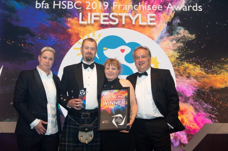 Barking Mad's John and Elaine Warburton are winners of the Lifestyle Franchisee of the Year award at the 2019 BFA Awards